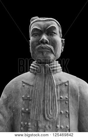 Terracotta Warrior on a Black background - China
