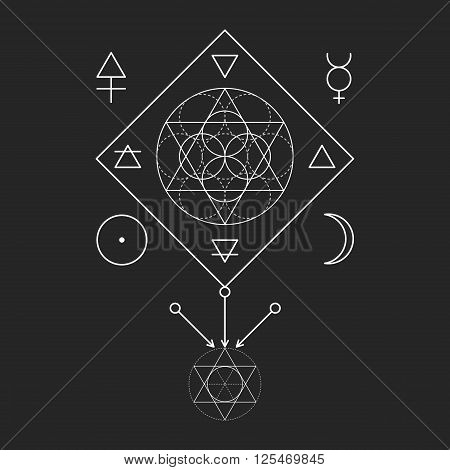 Symbol of alchemy and sacred geometry. Linear character illustration for lines tattoo on the black isolated background. Three primes: spirit soul body and 4 basic elements: Earth Water Air Fire