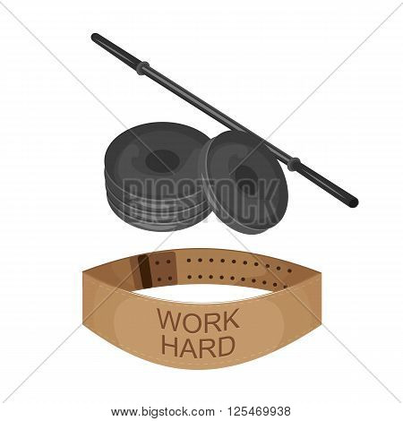 Gym belt, disk weight and barbell icon isolated on the white background. Sports equipment illustration set for gym or fitness club flayers illustration in flat design.