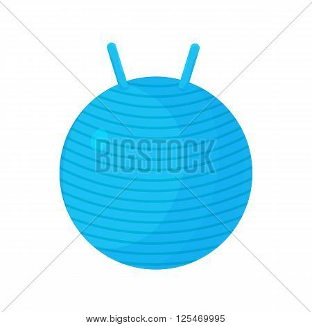 Fitness ball blue icon isolated on the white background. Fitness ball logo for gym or fitness club. Fitness ball illustration in flat design. Sport equipment element fitness ball for exercise.