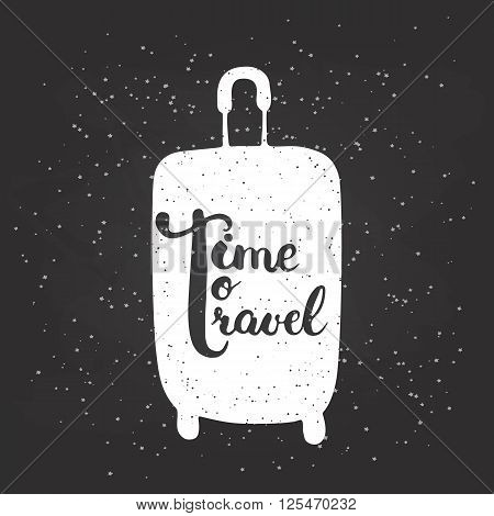 Hand drawn chalk typography lettering phrase Time to travel on the black chalkboard background with white travel bag. Modern calligraphy for typography greeting and invitation card or t-shirt print.