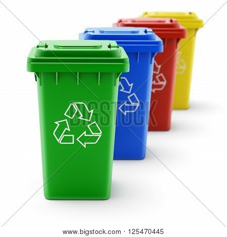 Green, blue, red and yellow recycle bins on white background - 3D illustration