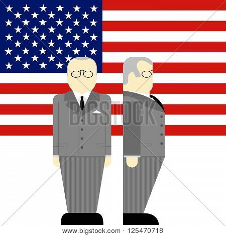 The flag and the Supreme Commander of the armed forces of the United States. The illustration on a white background.