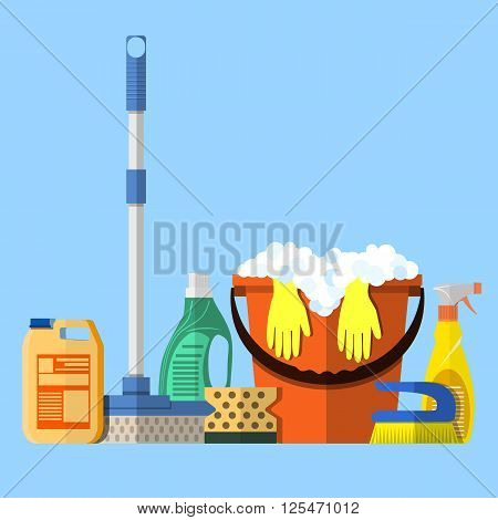 Cleaning set. MOP, sponge, red plastic bucket with rubber gloves upstairs, cleaning products in bottle for floor and glass, yellow sign reminder of wet floor . vector illustration in flat design