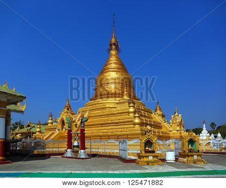 The main golden pagoda in Kuthodaw temple at Mandalay city, Myanmar (Burma)