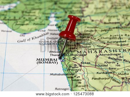 Map with pin point of Mumbai in India