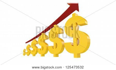 3d illustration of dollar symbol with rising arrow representing appreciation
