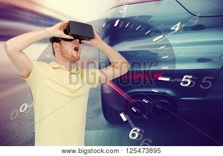 3d technology, virtual reality, entertainment and people concept - young man with virtual reality headset or 3d glasses playing game playing car racing game over tachometer and street race background