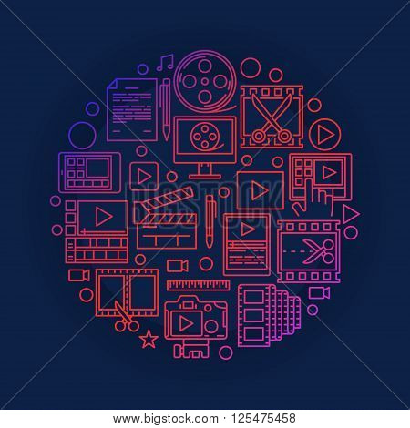 Video editing or production illustration - bright vector video concept symbol made with linear signs