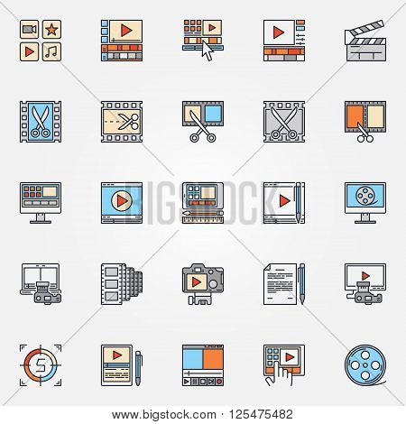 Video production icons set - vector collection of flat video edit symbols. Video editing colorful signs