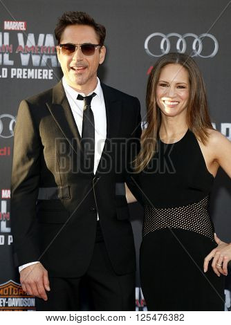 Robert Downey Jr. and Susan Downey at the World premiere of 'Captain America: Civil War' held at the Dolby Theatre in Hollywood, USA on April 12, 2016.