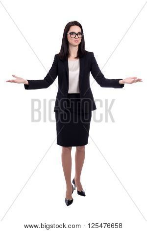 Young Business Woman Welcoming Or Presenting Something Isolated On White