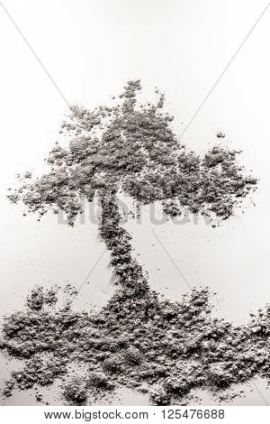 Tree growth out of the ground illustration made of grey ash