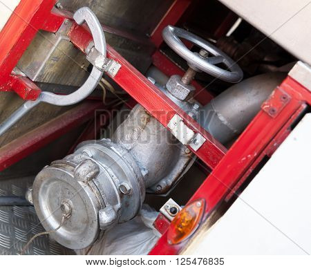 Firefighting Equipment On Red Fire Truck