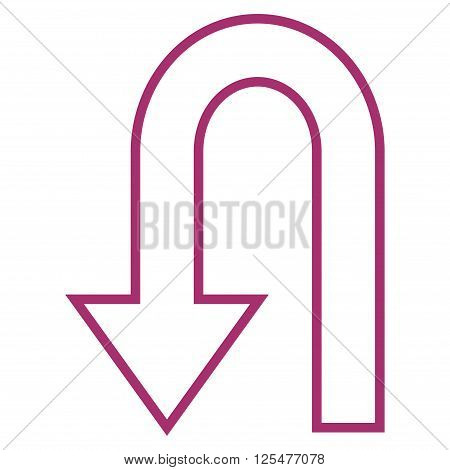 Return Arrow vector icon. Style is contour icon symbol, purple color, white background.
