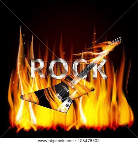 Vector illustration of a metal inscription letters rock in a flame with a fatal electric guitar on fire in the foreground.