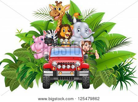Vector illustration of Happy holiday animal africa in the red car