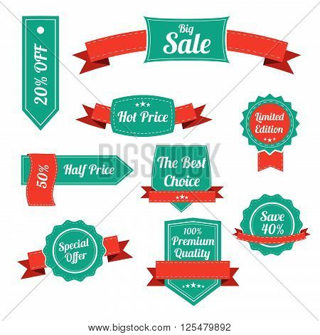 Set Of Retro Labels And Banners Isolated On White. Vector Illustration. Special Offer Banner. Premiu