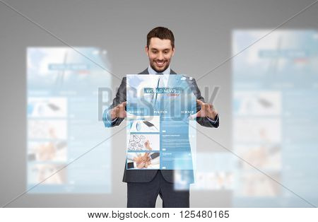 business, multimedia, technology and people concept - smiling businessman working with world news on virtual screen projection