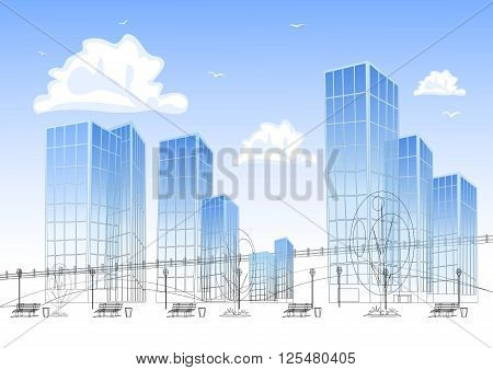 Design big modern city with skyscrapers. Vector