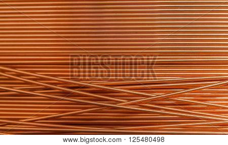 Copper wire red color  individually into background