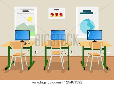 Vector illustration of an empty high school classroom
