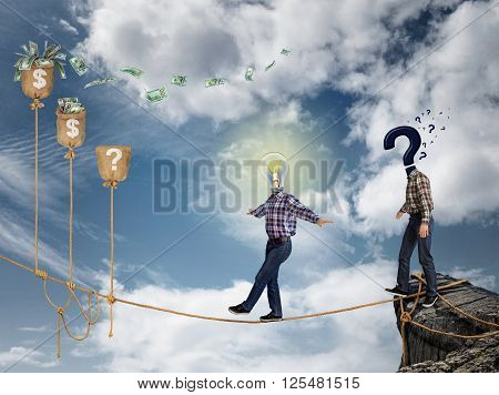 Young businessman walking on the rope to financial success against the sky. The concept businessmen undertake risky business in crisis.