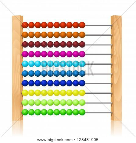 Abacus with colorful wooden beads on white background. Vector illustration