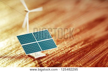 3D Illustration of a photovoltaic toy and wind turbine model with blurred background