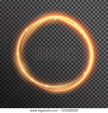 Vector fire sparkle spiral wave line with flying sparkling flash lights. Bokeh glitter magic glowing light swirl trail trace effect on transparent background. Abstract texture for design and business