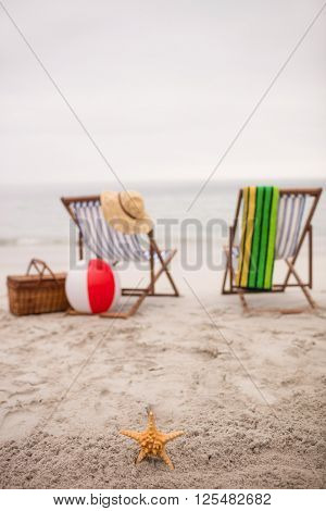 Empty deck chairs and star fish on the beach on a sunny day