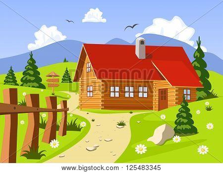 Idyllic summer landscape. Chalet in summer. Vector illustration