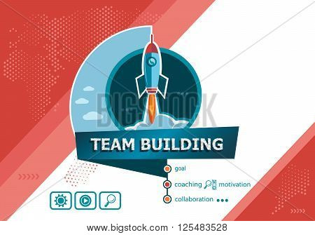 Team Building design concepts for business analysis planning consulting team work project management. Team Building concept on background with rocket.