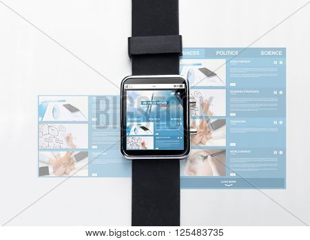 modern technology, object and mass media concept - close up of black smart watch with world news web page on screen