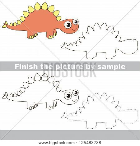 Drawing worksheet for children. Finish the picture and draw the cute Stegosaurus