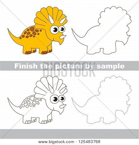 Drawing worksheet for children. Finish the picture and draw the cute Triceratops