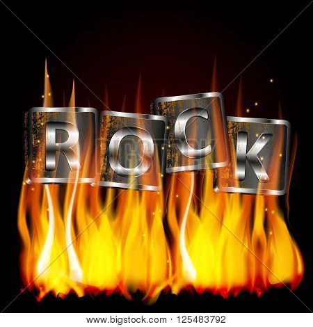 Vector illustration of the word rock metal flame on iron base with rust. The image is superimposed on any background black.