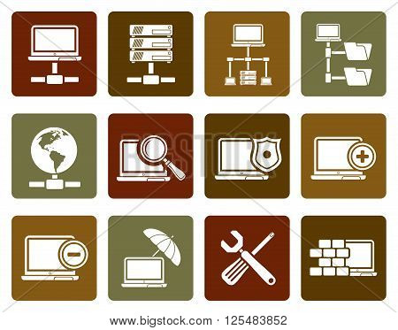 Flat Network, Server and Hosting icons - vector icon set