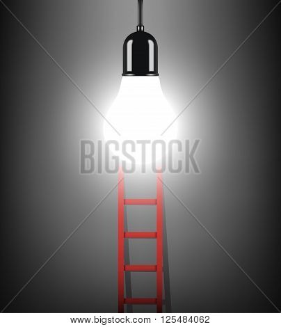 ladder to success concept with idea light bulb