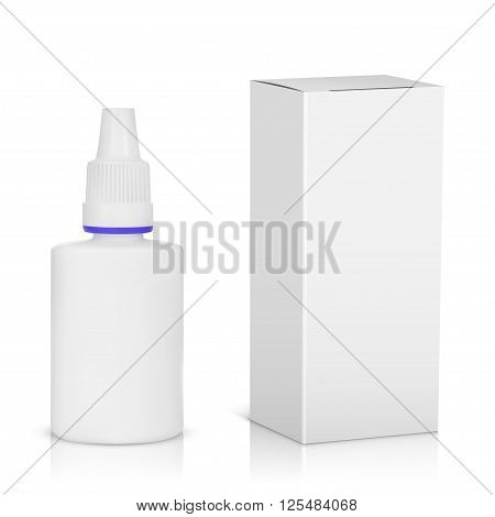 Medical spray bottle with paper package isolated on white background