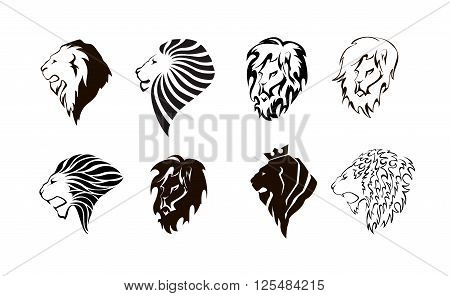 Lion head logo. Wild lion head graphic illustration. Design element. Set.