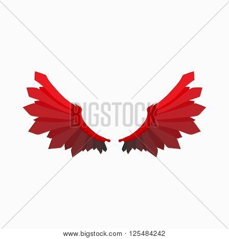 Red wings of devil icon in cartoon style isolated on white background