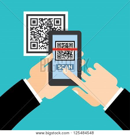 Scan QR code  to Mobile Phone. Electronic scan, digital technology, barcode. Vector illustration