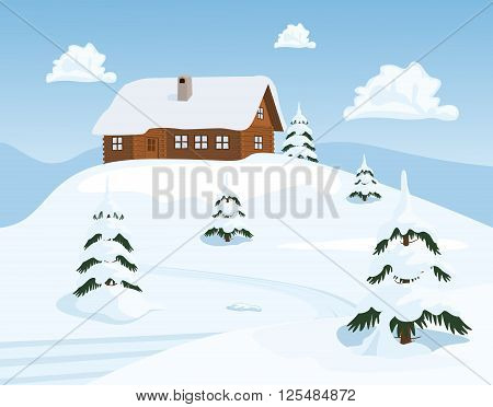 Christmas background with snowman on a background of winter landscape. Vector illustration