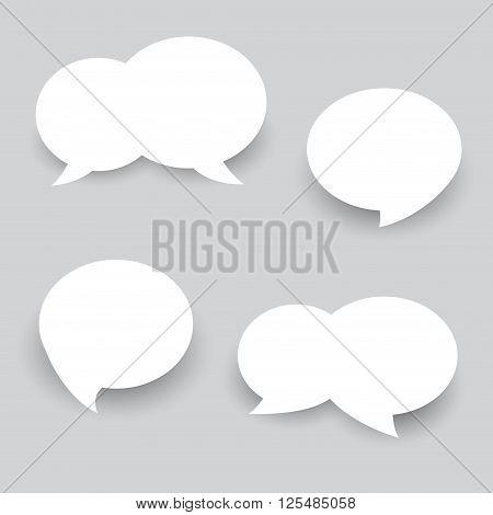 Set White Speech Bubbles. Abstract Vector. icon