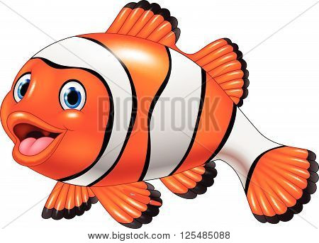 Vector illustration of Cute clown fish cartoon isolated on white background