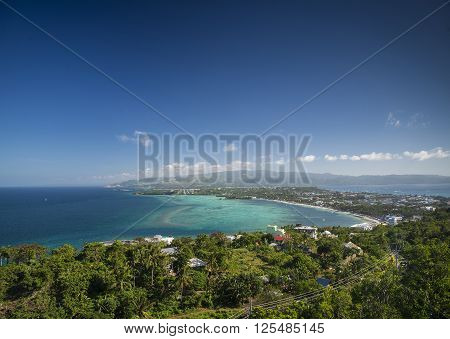 View of boracay island tropical coastline towards bolabog beach in philippines