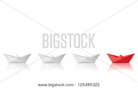 winner red paper ship isolated on a white background