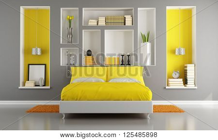 Yellow and gray modern bedroom with double bed and niche -  3d rendering