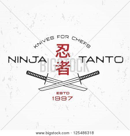 Japanese Ninja Logo. Tanto knife insignia design. Vintage japan badge. Martial art Team t-shirt illustration concept on grunge background.